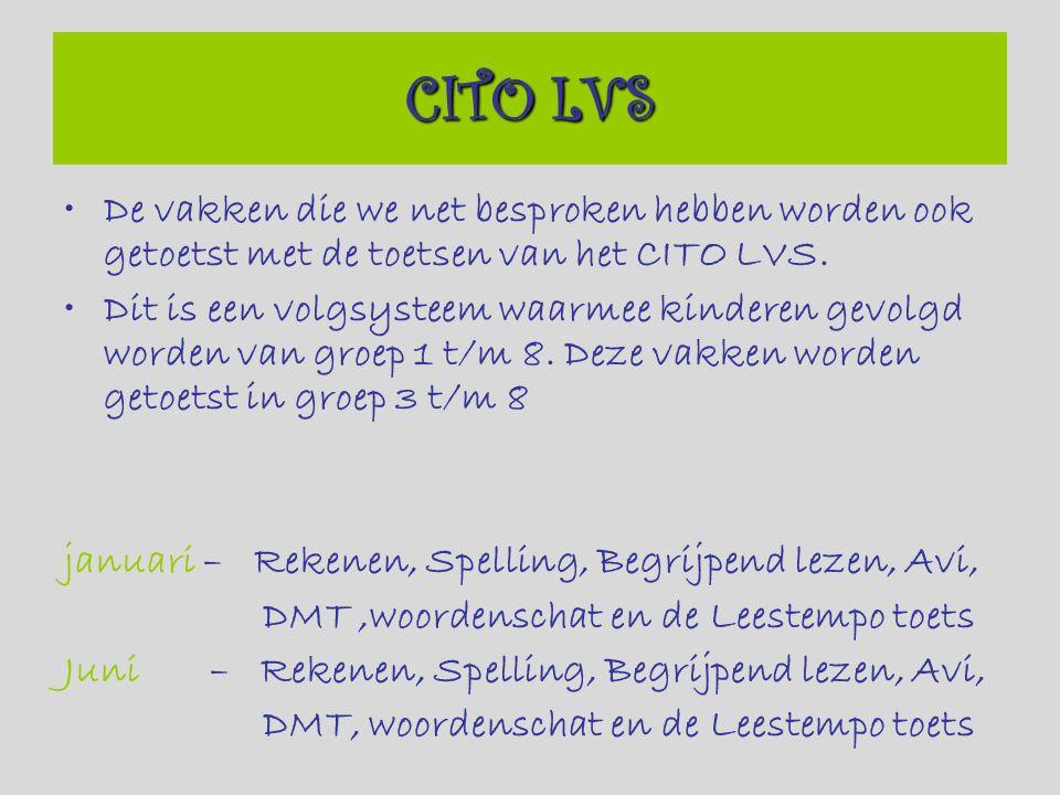 De vakken die we net besproken hebben worden ook getoetst met de toetsen van het CITO LVS.