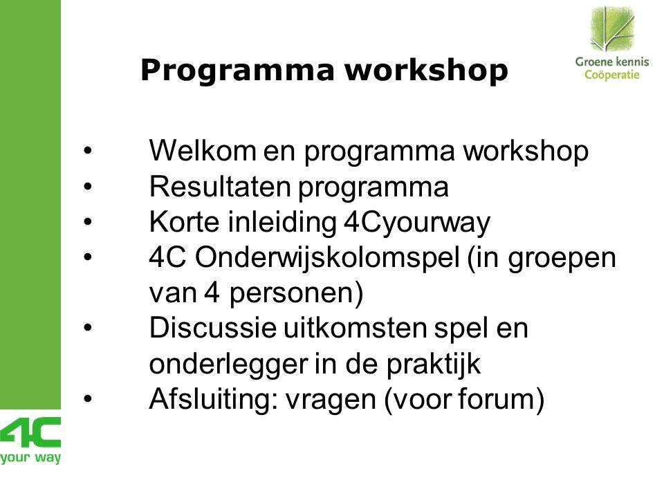 Programma workshop Welkom en programma workshop Resultaten programma Korte inleiding 4Cyourway 4C Onderwijskolomspel (in groepen van 4 personen) Discussie uitkomsten spel en onderlegger in de praktijk Afsluiting: vragen (voor forum)