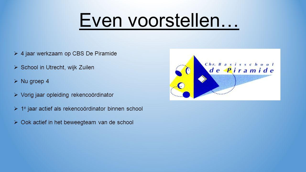  4 jaar werkzaam op CBS De Piramide  School in Utrecht, wijk Zuilen  Nu groep 4  Vorig jaar opleiding rekencoördinator  1 e jaar actief als rekencoördinator binnen school  Ook actief in het beweegteam van de school