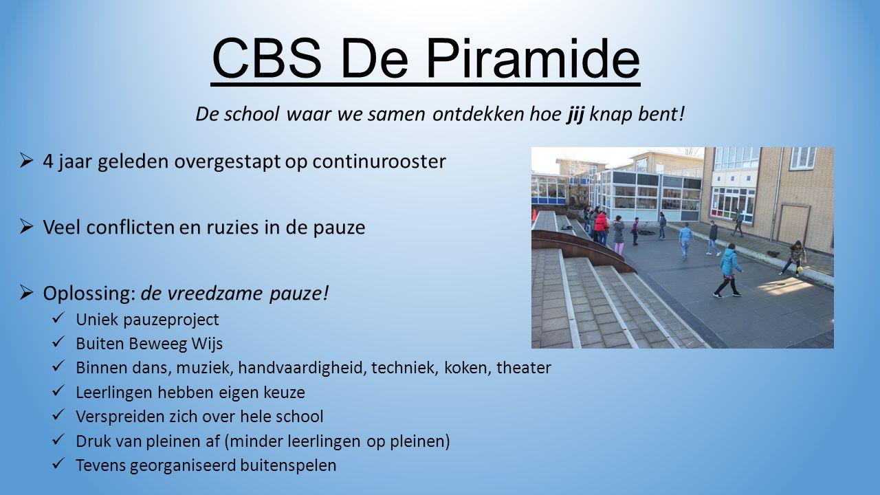 Voor ontwikkeling van nieuwe schoolplein en buitenspeelmethode: CBS De Piramide De school waar we samen ontdekken hoe jij knap bent.