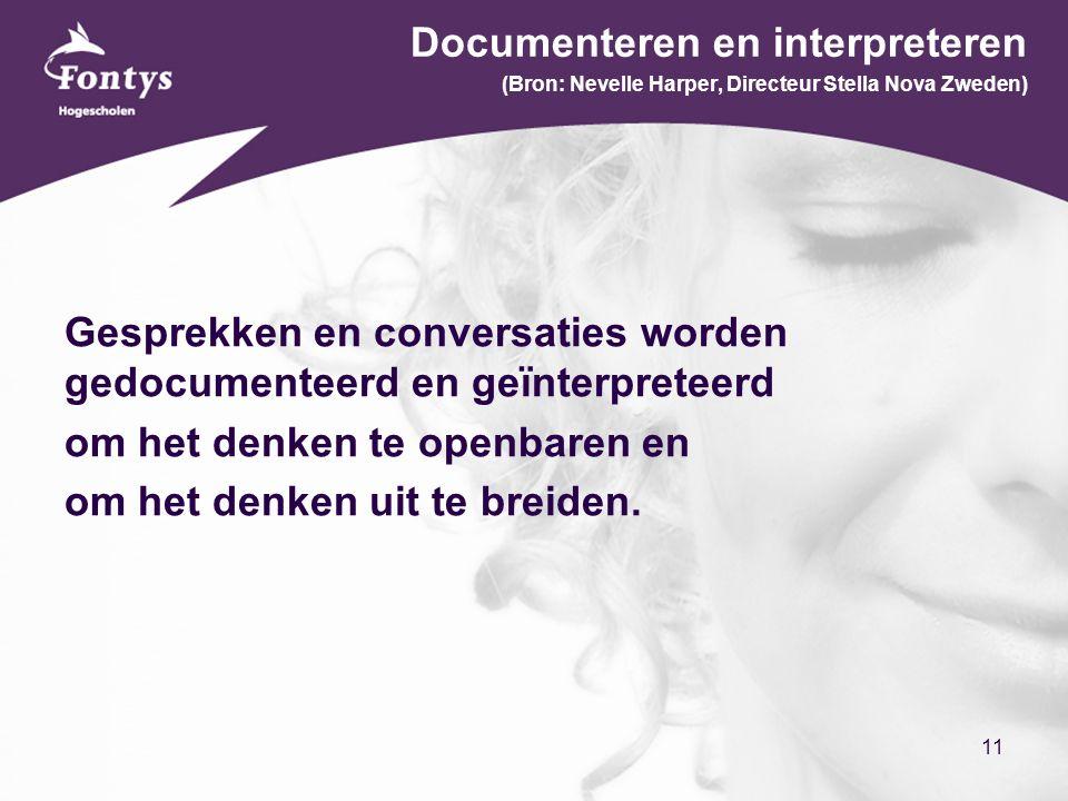 11 Documenteren en interpreteren (Bron: Nevelle Harper, Directeur Stella Nova Zweden) Gesprekken en conversaties worden gedocumenteerd en geïnterpreteerd om het denken te openbaren en om het denken uit te breiden.