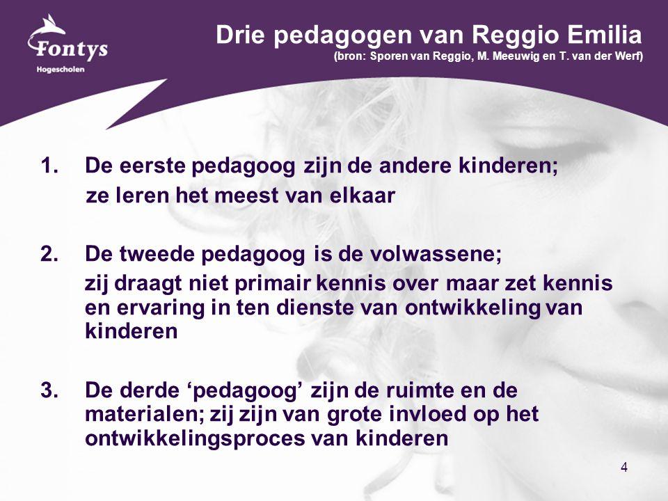 4 Drie pedagogen van Reggio Emilia (bron: Sporen van Reggio, M. Meeuwig en T. van der Werf)  De eerste pedagoog zijn de andere kinderen; ze leren he