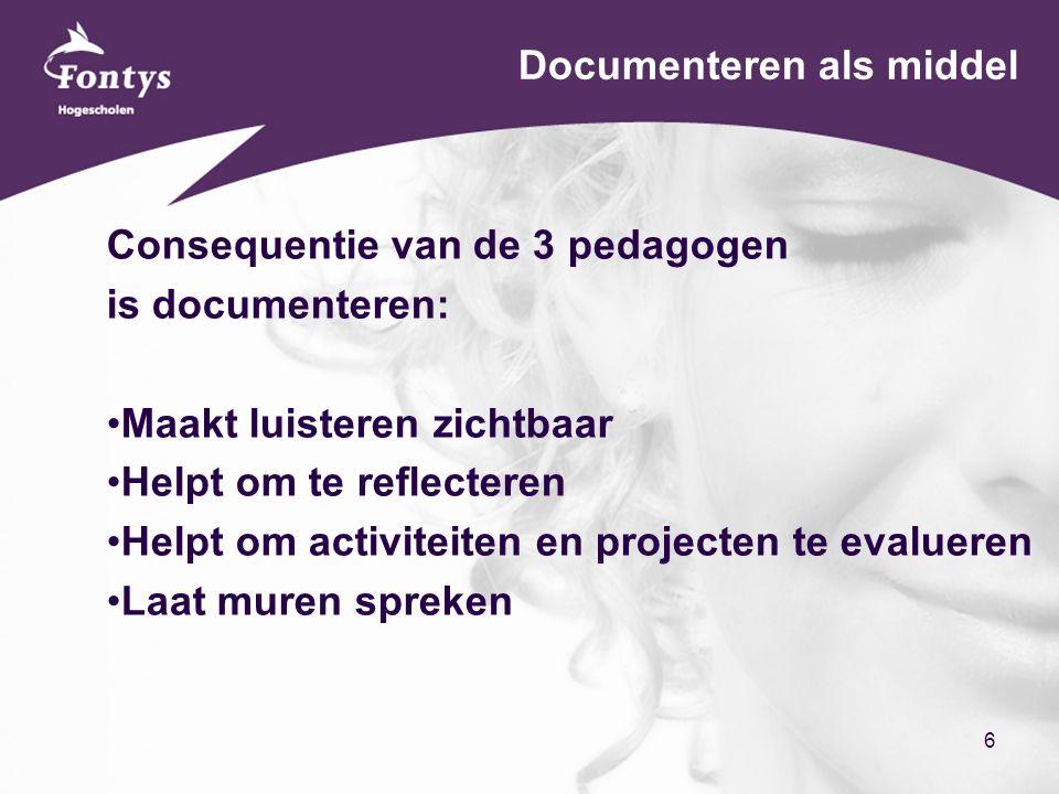 6 Documenteren als middel Consequentie van de 3 pedagogen is documenteren: Maakt luisteren zichtbaar Helpt om te reflecteren Helpt om activiteiten en projecten te evalueren Laat muren spreken