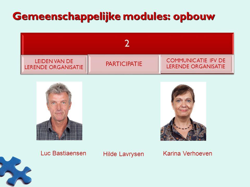 Gemeenschappelijke modules: opbouw 1 PERSOONLIJK LEIDERSCHAP TIJDBEHEERBEZOEK VerbondBASISCOMMUNICATIE Karel Binon Marita Stas Karina Verhoeven