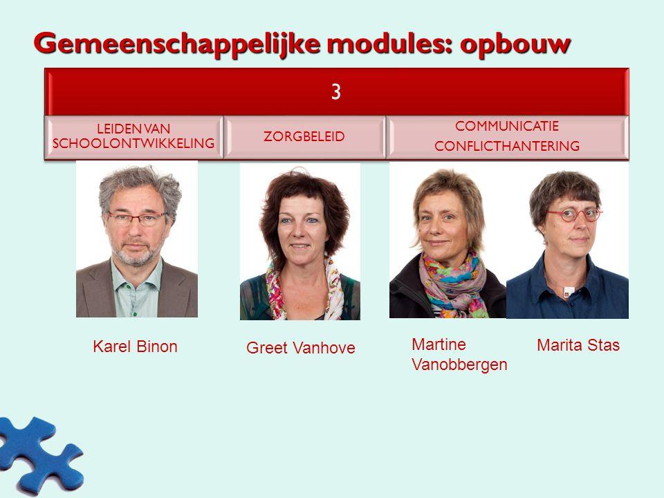Gemeenschappelijke modules: opbouw 2 LEIDEN VAN DE LERENDE ORGANISATIE COMMUNICATIE IFV DE LERENDE ORGANISATIE Luc Bastiaensen Karina Verhoeven PARTIC