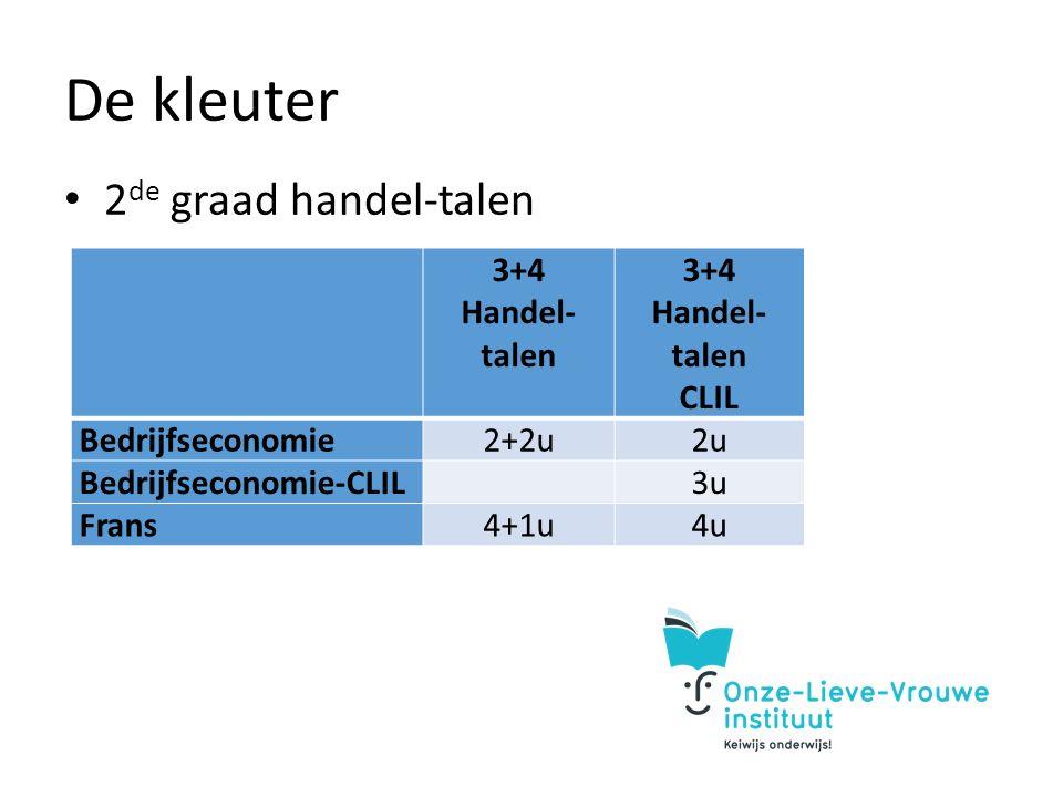 De kleuter 2 de graad handel-talen 3+4 Handel- talen CLIL Bedrijfseconomie2+2u2u Bedrijfseconomie-CLIL 3u Frans4+1u4u