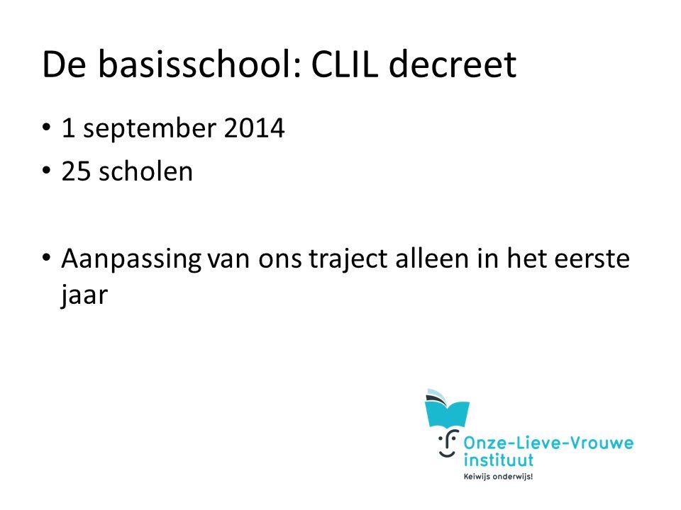 De basisschool: CLIL decreet 1 september 2014 25 scholen Aanpassing van ons traject alleen in het eerste jaar