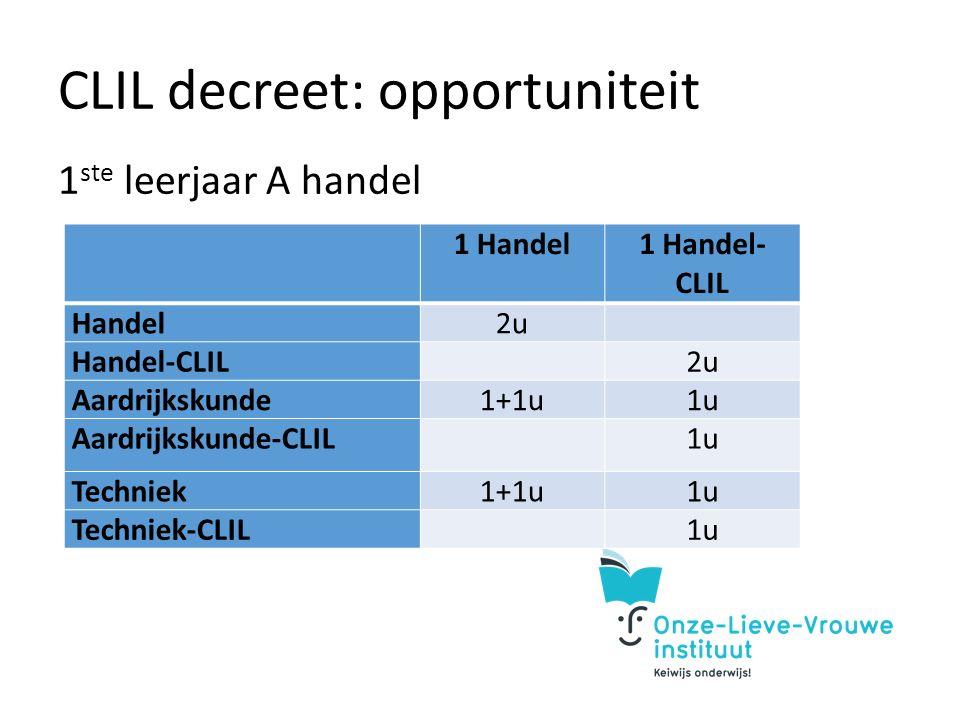 CLIL decreet: opportuniteit 1 ste leerjaar A handel 1 Handel1 Handel- CLIL Handel2u Handel-CLIL 2u Aardrijkskunde1+1u1u Aardrijkskunde-CLIL 1u Techniek1+1u1u Techniek-CLIL 1u