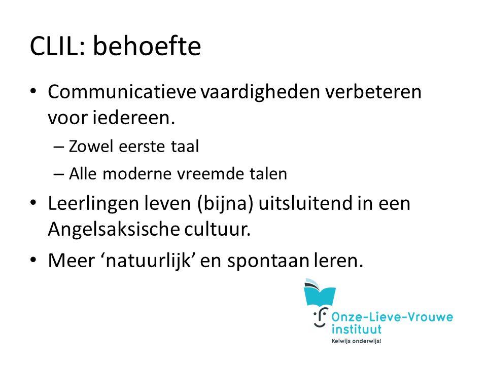CLIL: behoefte Communicatieve vaardigheden verbeteren voor iedereen.