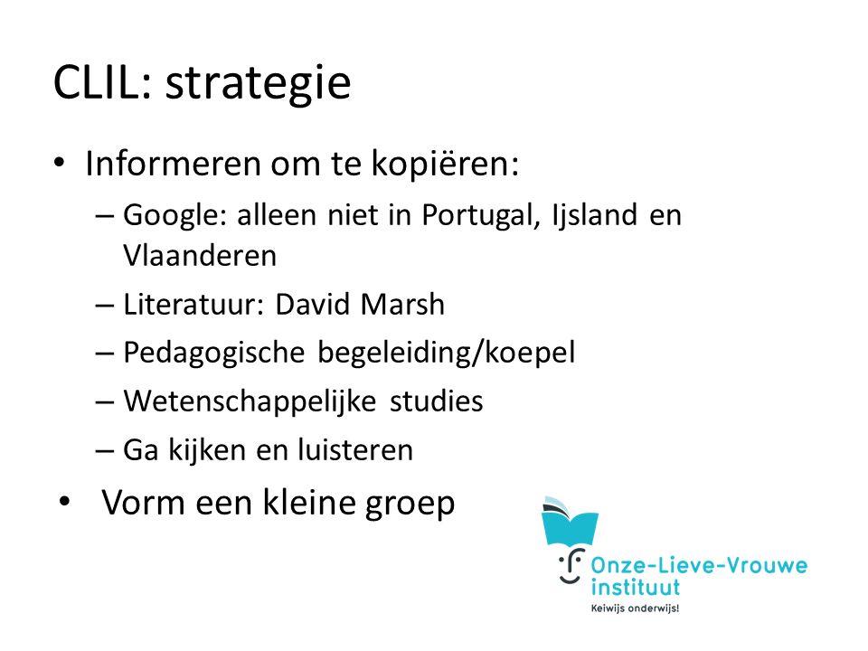 CLIL: strategie Informeren om te kopiëren: – Google: alleen niet in Portugal, Ijsland en Vlaanderen – Literatuur: David Marsh – Pedagogische begeleiding/koepel – Wetenschappelijke studies – Ga kijken en luisteren Vorm een kleine groep