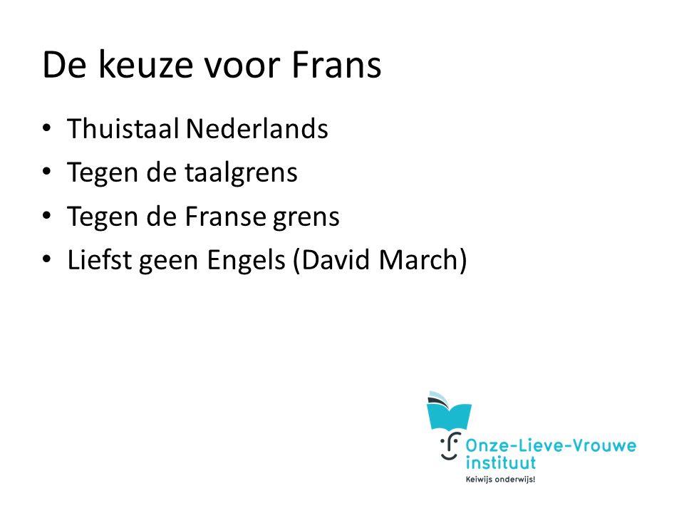 De keuze voor Frans Thuistaal Nederlands Tegen de taalgrens Tegen de Franse grens Liefst geen Engels (David March)