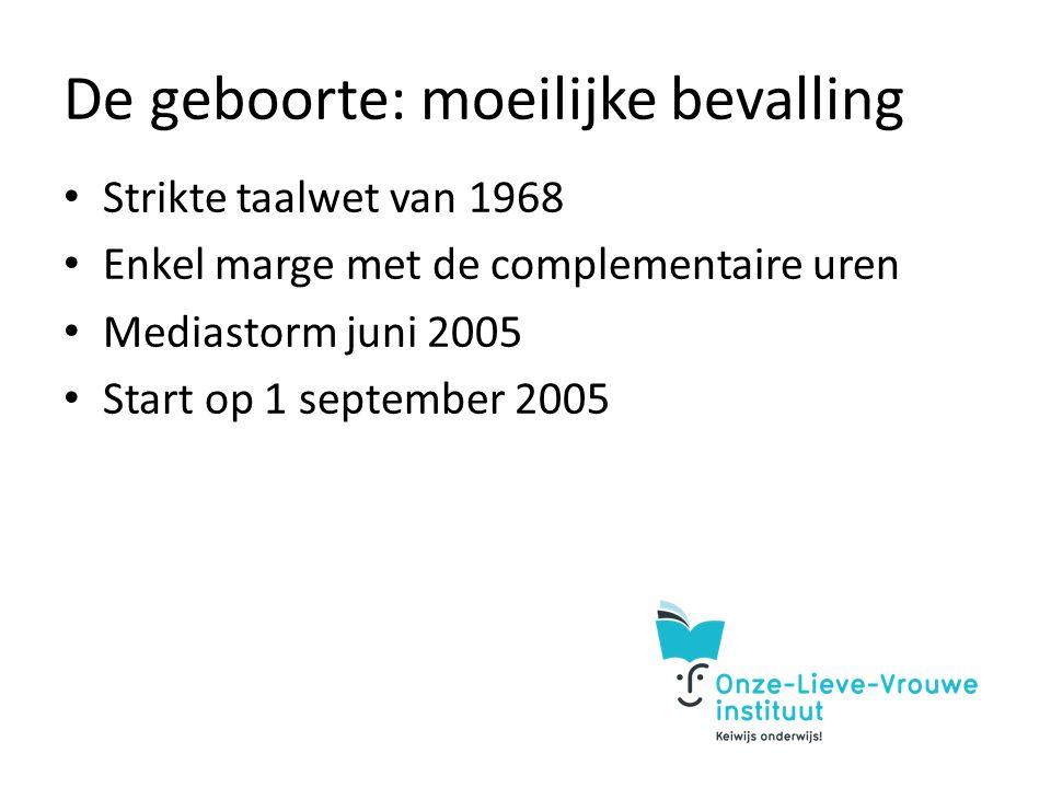 De geboorte: moeilijke bevalling Strikte taalwet van 1968 Enkel marge met de complementaire uren Mediastorm juni 2005 Start op 1 september 2005