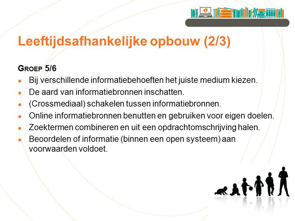 Leeftijdsafhankelijke opbouw (2/3) G ROEP 5/6 ● Bij verschillende informatiebehoeften het juiste medium kiezen. ● De aard van informatiebronnen inscha