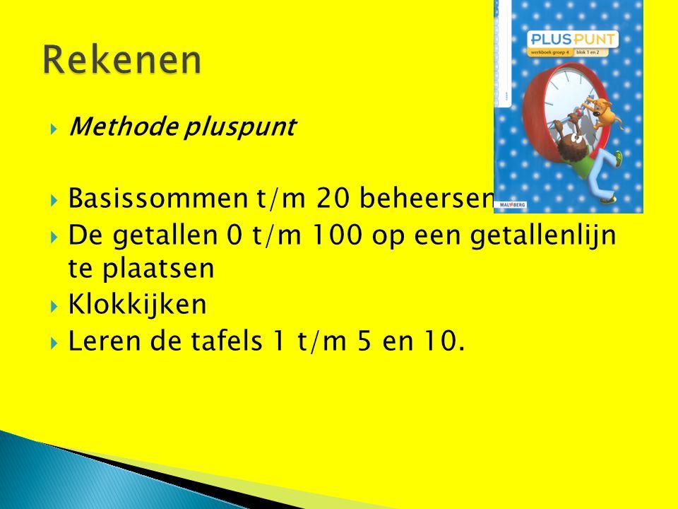  Methode pluspunt  Basissommen t/m 20 beheersen.