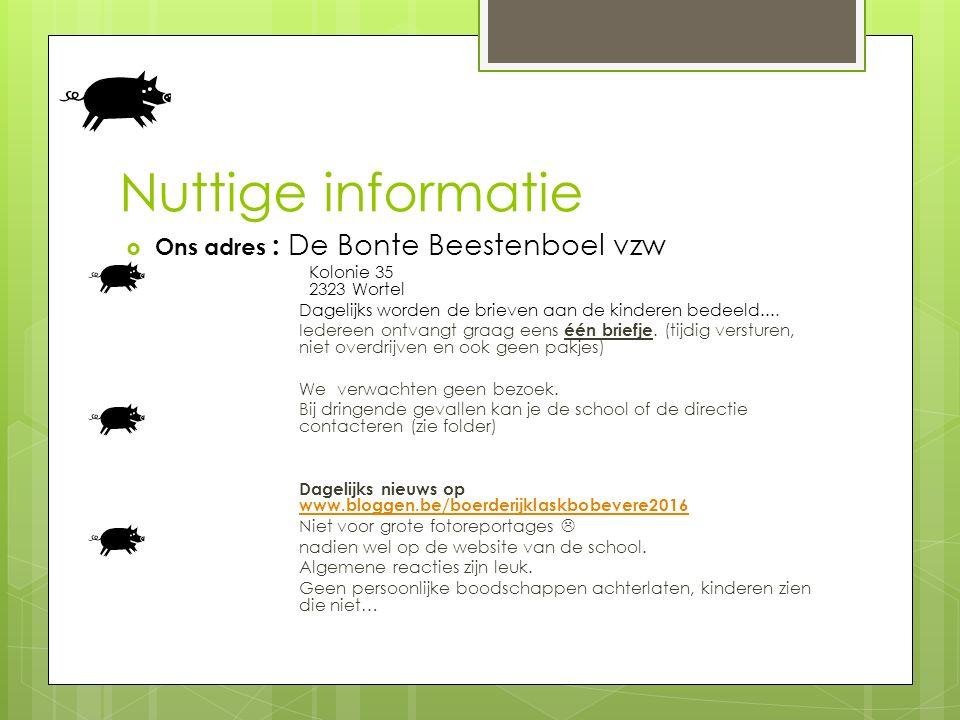 Nuttige informatie  Ons adres : De Bonte Beestenboel vzw Kolonie 35 2323 Wortel Dagelijks worden de brieven aan de kinderen bedeeld....