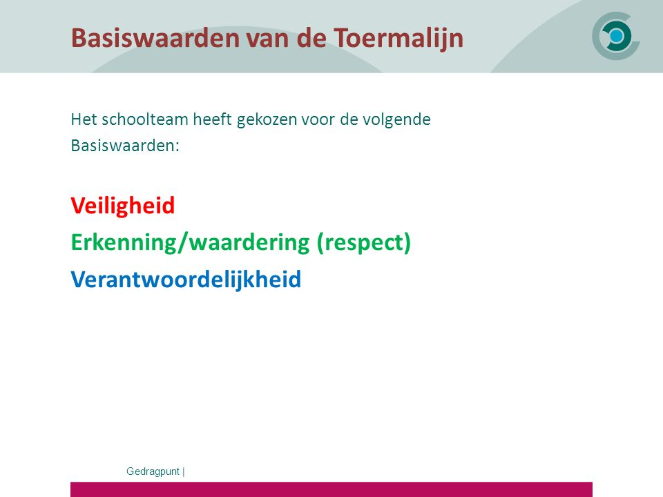 Gedragpunt | Basiswaarden van de Toermalijn Het schoolteam heeft gekozen voor de volgende Basiswaarden: Veiligheid Erkenning/waardering (respect) Vera