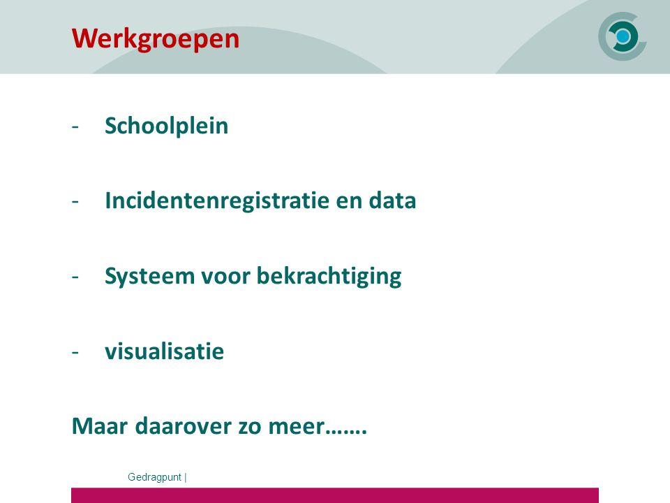 Gedragpunt | Werkgroepen -Schoolplein -Incidentenregistratie en data -Systeem voor bekrachtiging -visualisatie Maar daarover zo meer…….