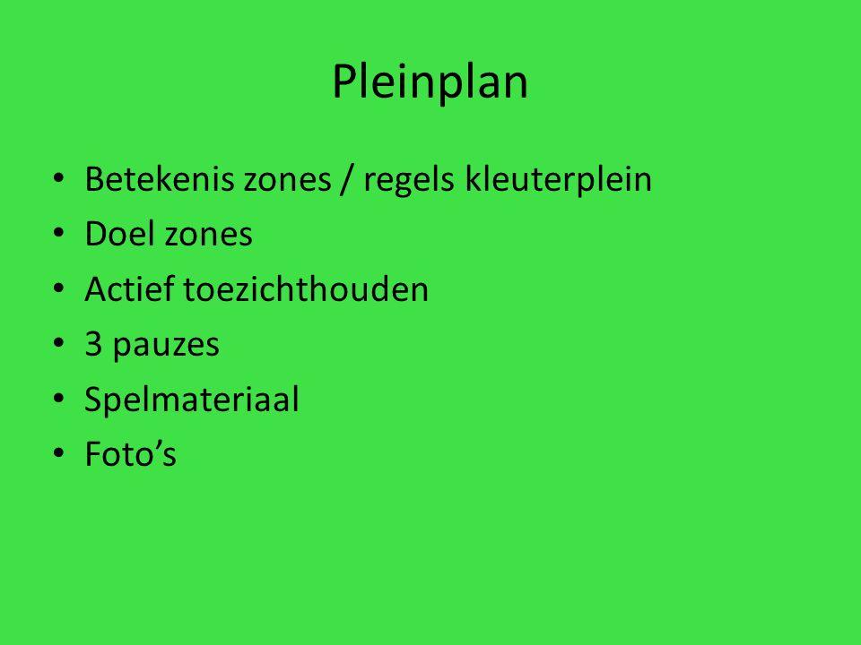Pleinplan Betekenis zones / regels kleuterplein Doel zones Actief toezichthouden 3 pauzes Spelmateriaal Foto's