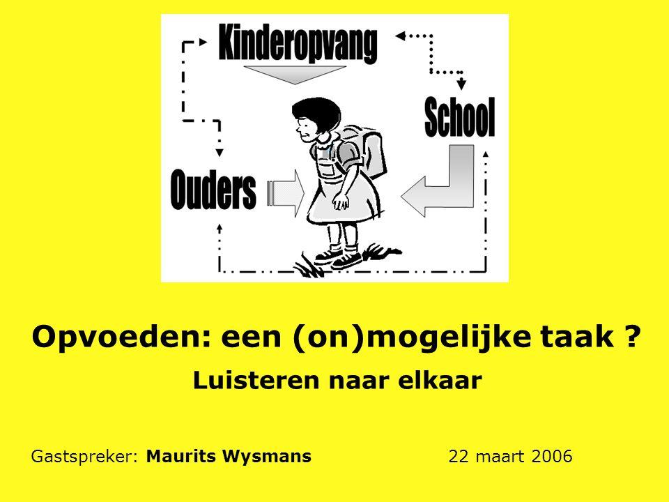 Opvoeden: een (on)mogelijke taak ? Luisteren naar elkaar Gastspreker: Maurits Wysmans 22 maart 2006