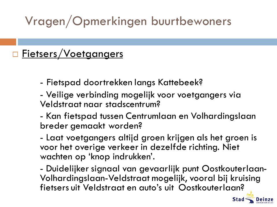 Vragen/Opmerkingen buurtbewoners  Fietsers/Voetgangers - Fietspad doortrekken langs Kattebeek.