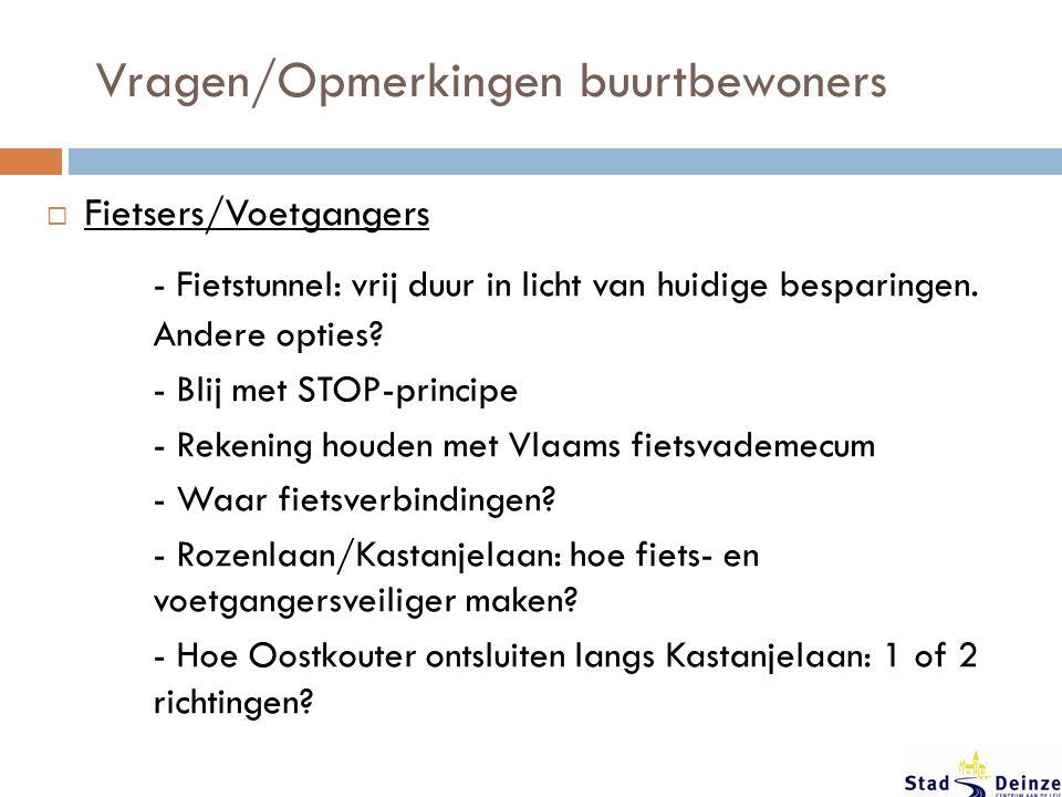 Vragen/Opmerkingen buurtbewoners  Fietsers/Voetgangers - Fietstunnel: vrij duur in licht van huidige besparingen.