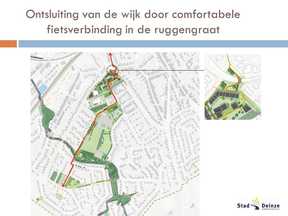 Ontsluiting van de wijk door comfortabele fietsverbinding in de ruggengraat