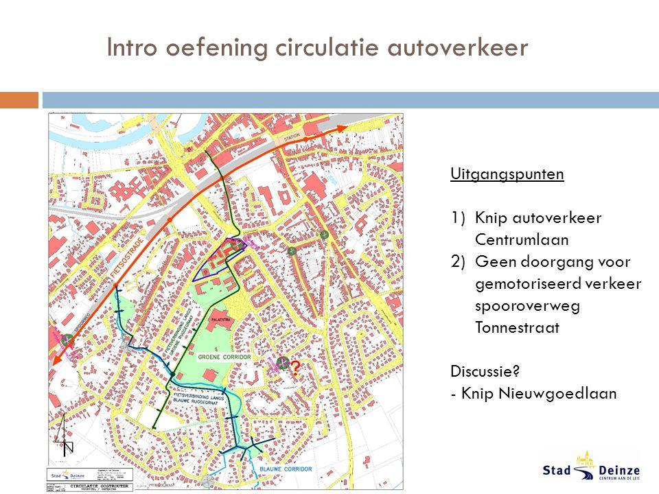 Intro oefening circulatie autoverkeer Uitgangspunten 1)Knip autoverkeer Centrumlaan 2)Geen doorgang voor gemotoriseerd verkeer spooroverweg Tonnestraat Discussie.