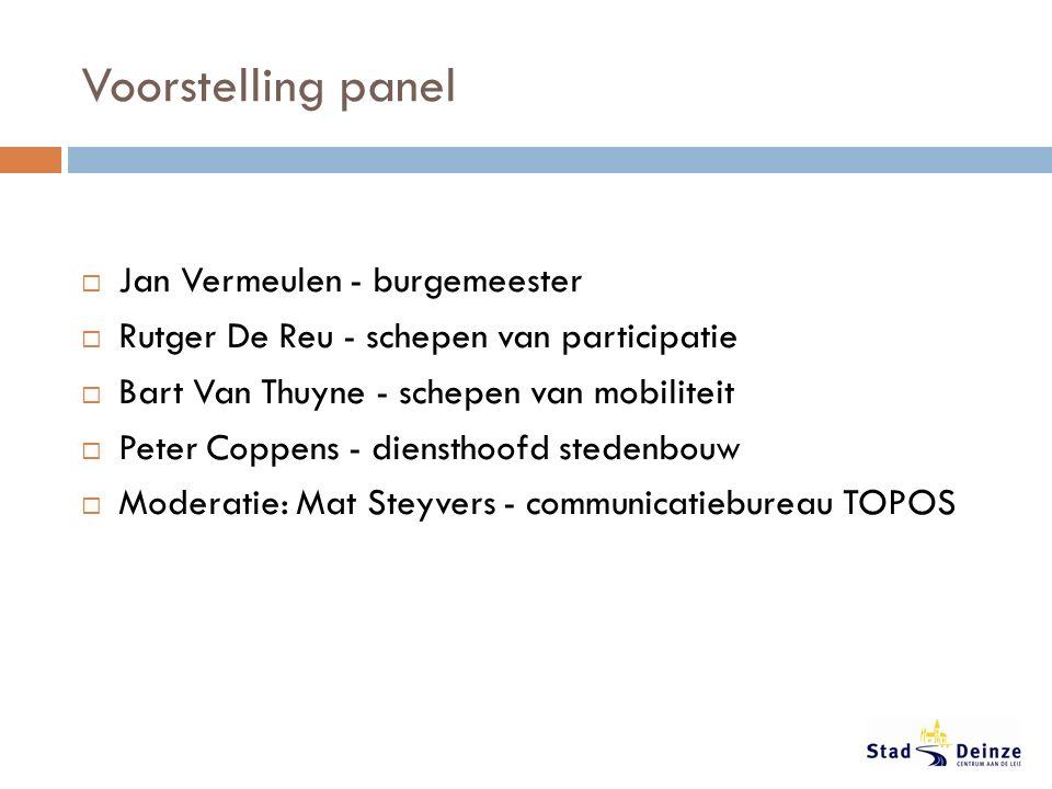 Voorstelling panel  Jan Vermeulen - burgemeester  Rutger De Reu - schepen van participatie  Bart Van Thuyne - schepen van mobiliteit  Peter Coppens - diensthoofd stedenbouw  Moderatie: Mat Steyvers - communicatiebureau TOPOS