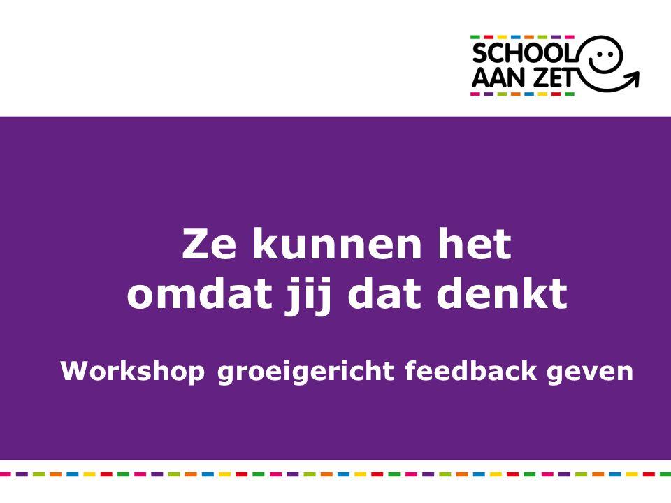 Ze kunnen het omdat jij dat denkt Workshop groeigericht feedback geven
