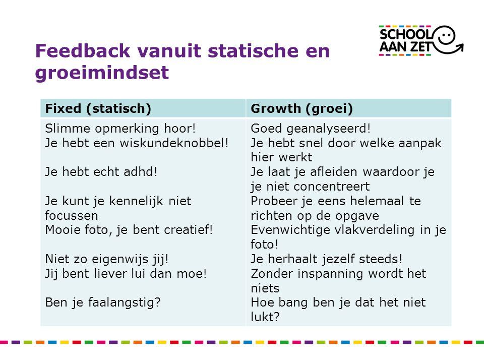 Feedback vanuit statische en groeimindset Fixed (statisch)Growth (groei) Slimme opmerking hoor! Je hebt een wiskundeknobbel! Je hebt echt adhd! Je kun