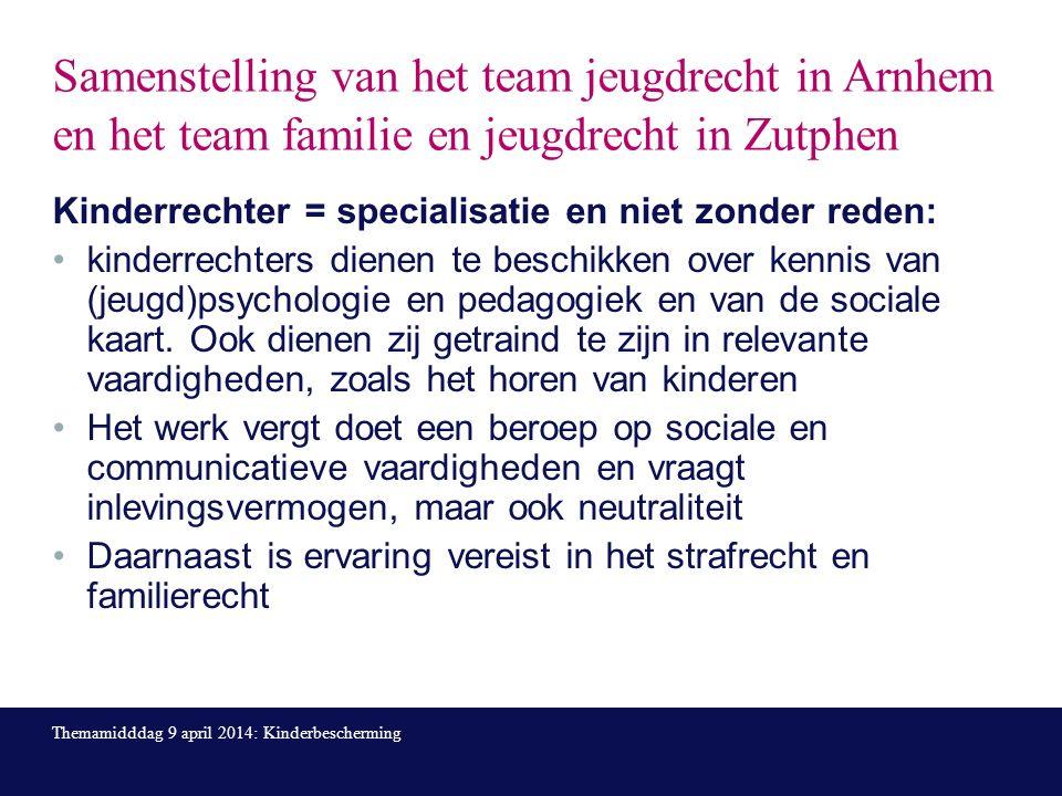 Samenstelling van het team jeugdrecht in Arnhem en het team familie en jeugdrecht in Zutphen Kinderrechter = specialisatie en niet zonder reden: kinderrechters dienen te beschikken over kennis van (jeugd)psychologie en pedagogiek en van de sociale kaart.