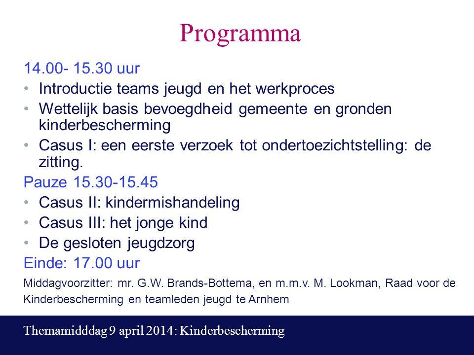 Programma 14.00- 15.30 uur Introductie teams jeugd en het werkproces Wettelijk basis bevoegdheid gemeente en gronden kinderbescherming Casus I: een eerste verzoek tot ondertoezichtstelling: de zitting.