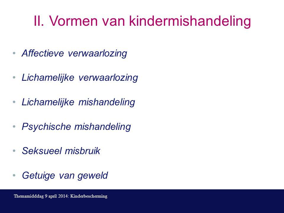 II. Vormen van kindermishandeling Affectieve verwaarlozing Lichamelijke verwaarlozing Lichamelijke mishandeling Psychische mishandeling Seksueel misbr