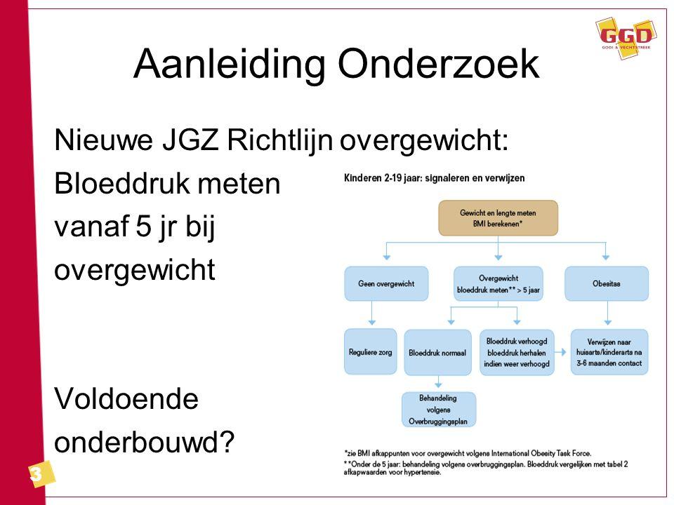 3 Aanleiding Onderzoek Nieuwe JGZ Richtlijn overgewicht: Bloeddruk meten vanaf 5 jr bij overgewicht Voldoende onderbouwd?