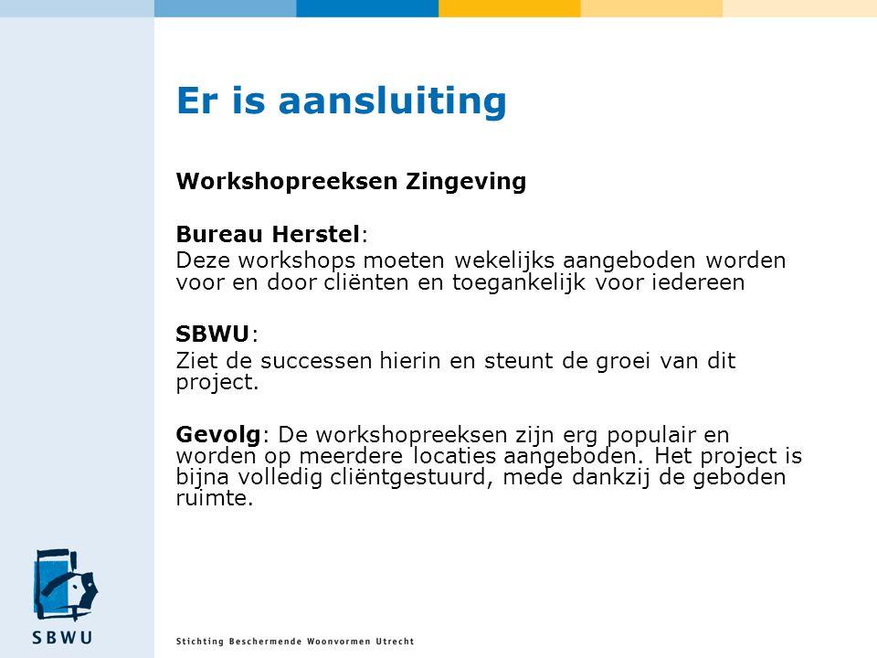 Er is aansluiting Workshopreeksen Zingeving Bureau Herstel: Deze workshops moeten wekelijks aangeboden worden voor en door cliënten en toegankelijk voor iedereen SBWU: Ziet de successen hierin en steunt de groei van dit project.