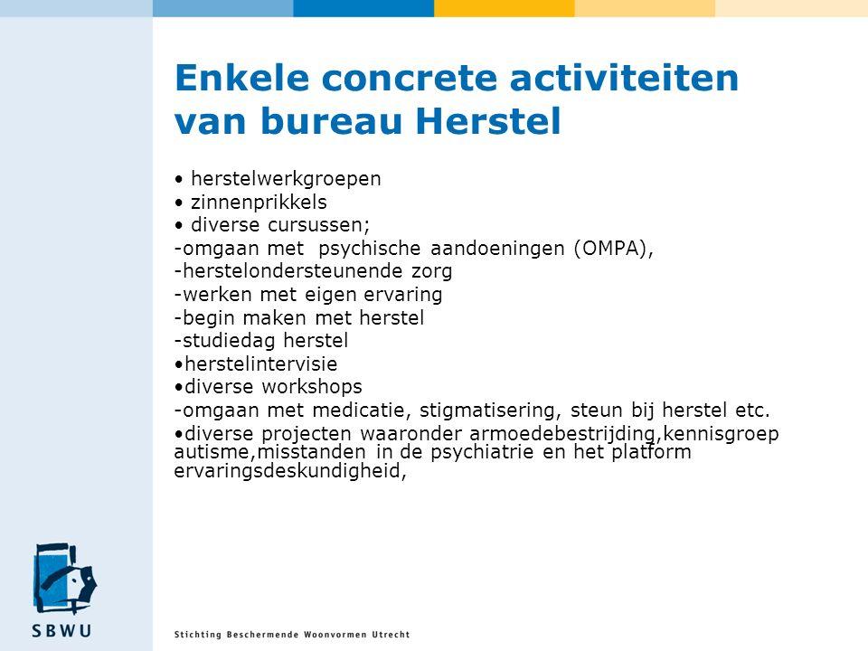 Enkele concrete activiteiten van bureau Herstel herstelwerkgroepen zinnenprikkels diverse cursussen; -omgaan met psychische aandoeningen (OMPA), -hers