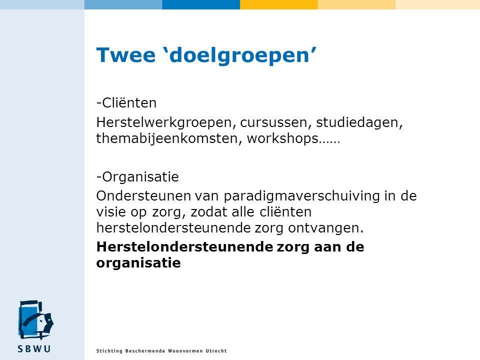 Twee 'doelgroepen' -Cliënten Herstelwerkgroepen, cursussen, studiedagen, themabijeenkomsten, workshops…… -Organisatie Ondersteunen van paradigmaversch