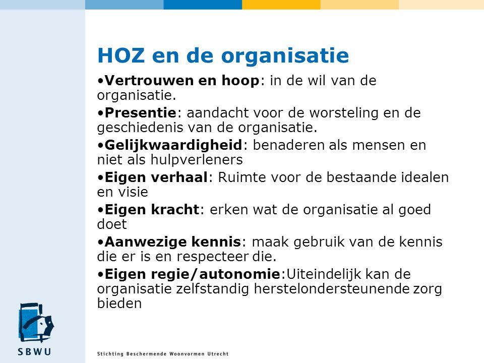 HOZ en de organisatie Vertrouwen en hoop: in de wil van de organisatie. Presentie: aandacht voor de worsteling en de geschiedenis van de organisatie.