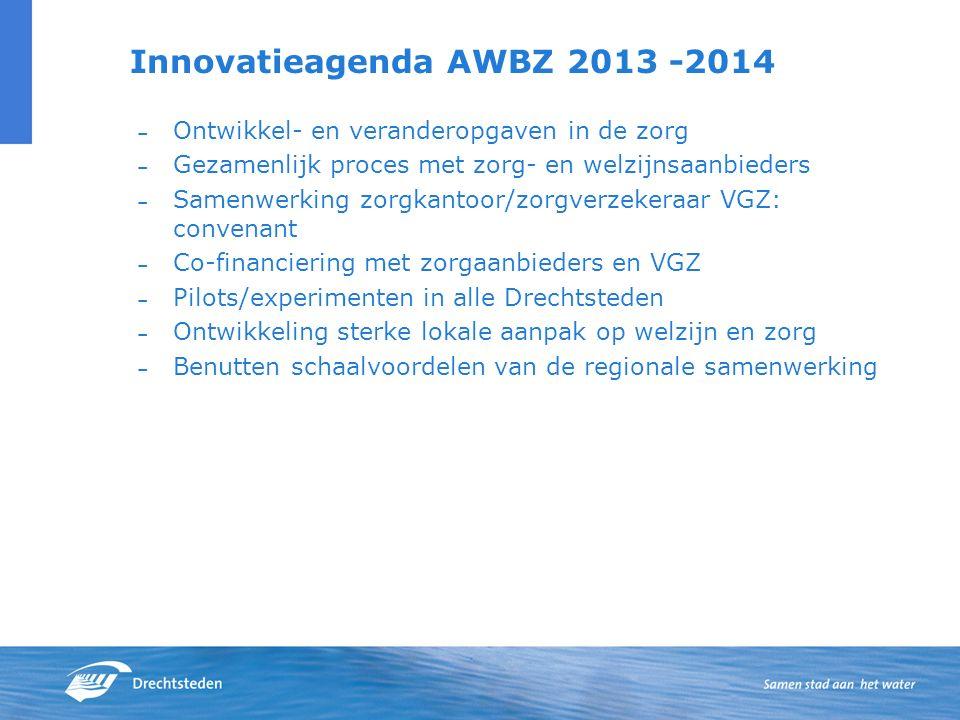 Innovatieagenda AWBZ 2013 -2014 – Ontwikkel- en veranderopgaven in de zorg – Gezamenlijk proces met zorg- en welzijnsaanbieders – Samenwerking zorgkantoor/zorgverzekeraar VGZ: convenant – Co-financiering met zorgaanbieders en VGZ – Pilots/experimenten in alle Drechtsteden – Ontwikkeling sterke lokale aanpak op welzijn en zorg – Benutten schaalvoordelen van de regionale samenwerking