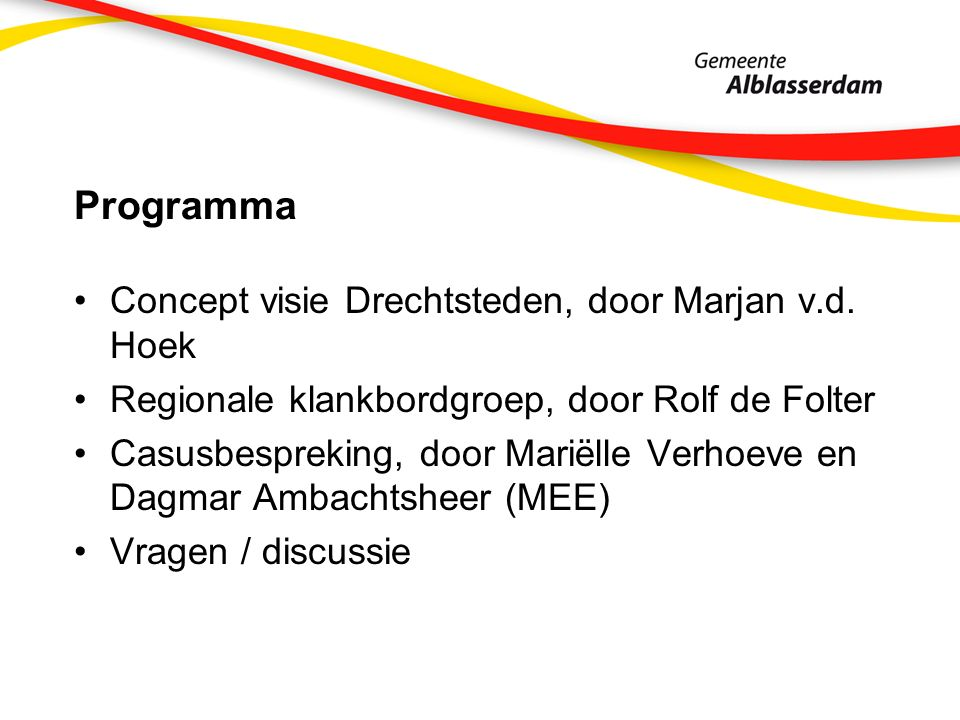 Programma Concept visie Drechtsteden, door Marjan v.d.