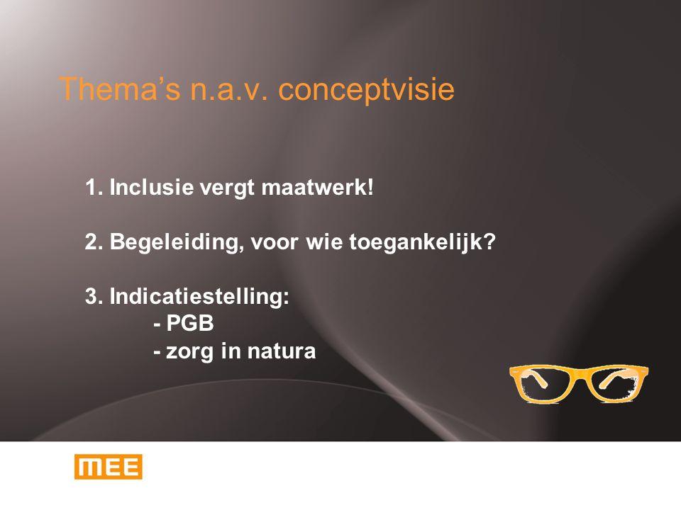 Thema's n.a.v. conceptvisie 1. Inclusie vergt maatwerk.