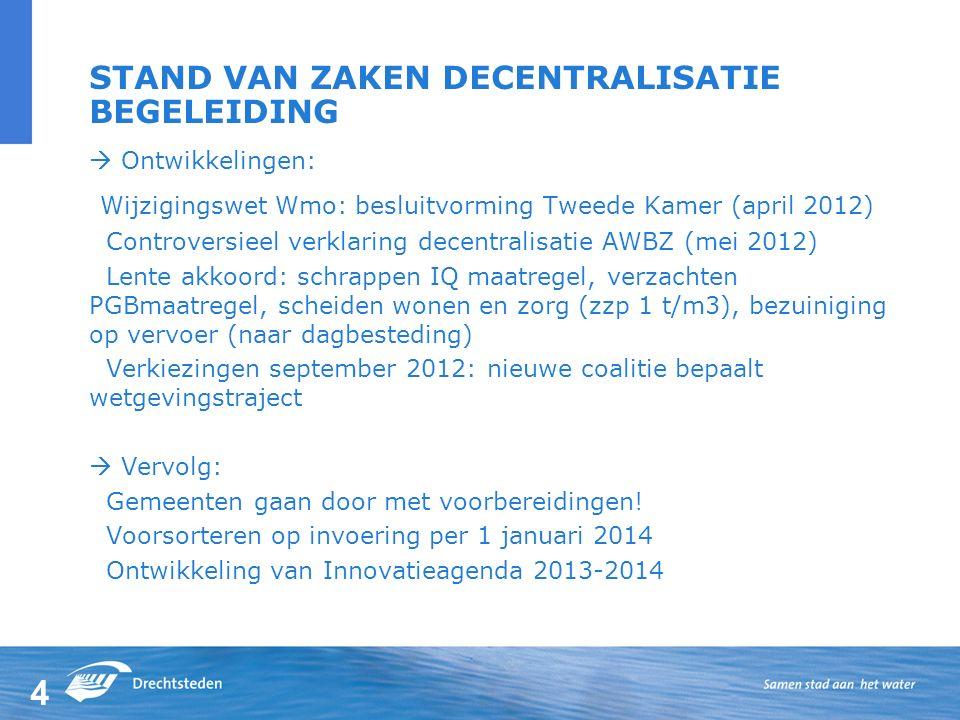 4 STAND VAN ZAKEN DECENTRALISATIE BEGELEIDING  Ontwikkelingen: Wijzigingswet Wmo: besluitvorming Tweede Kamer (april 2012) Controversieel verklaring decentralisatie AWBZ (mei 2012) Lente akkoord: schrappen IQ maatregel, verzachten PGBmaatregel, scheiden wonen en zorg (zzp 1 t/m3), bezuiniging op vervoer (naar dagbesteding) Verkiezingen september 2012: nieuwe coalitie bepaalt wetgevingstraject  Vervolg: Gemeenten gaan door met voorbereidingen.