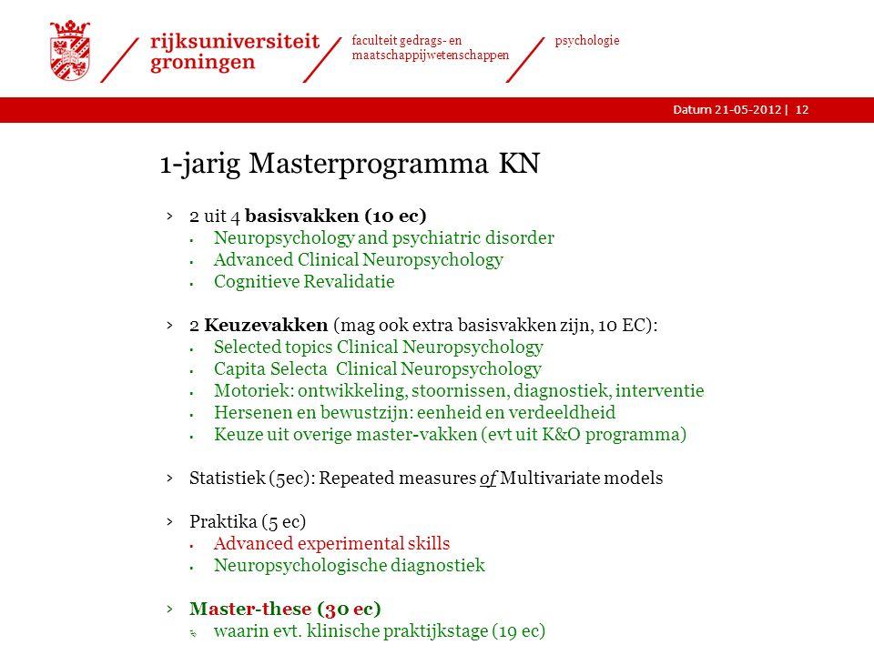 |Datum 21-05-2012 faculteit gedrags- en maatschappijwetenschappen psychologie KN is interdisciplinair  Niet alleen psychologie, maar ook  Medische w