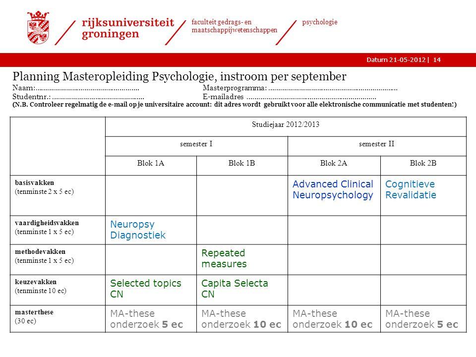 |Datum 21-05-2012 faculteit gedrags- en maatschappijwetenschappen psychologie Planning Masteropleiding Psychologie, instroom per september Naam:……………………………………………..Masterprogramma: ………………………………………………………… Studentnr.: ………………………………………..E-mailadres ………………………………………………………… (N.B.