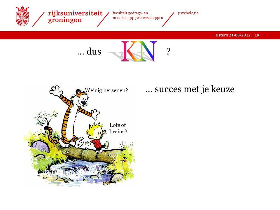|Datum 21-05-2012 faculteit gedrags- en maatschappijwetenschappen psychologie Weinig hersenen.