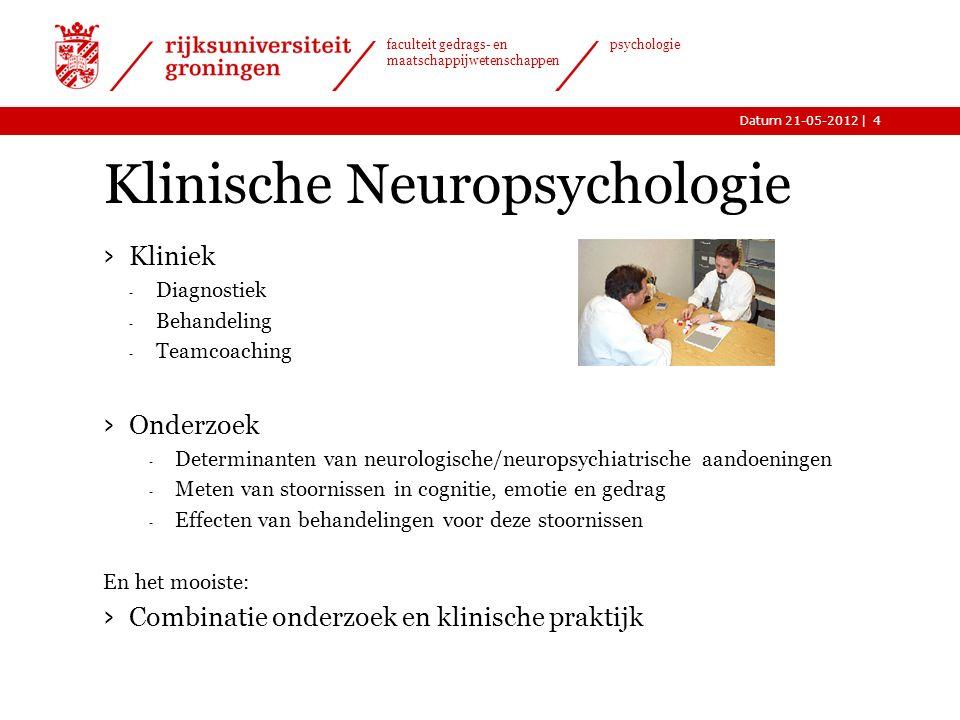 |Datum 21-05-2012 faculteit gedrags- en maatschappijwetenschappen psychologie Welke aandoeningen? Bijvoorbeeld: › ADHD › CVA (Beroerte) › Hersentumore