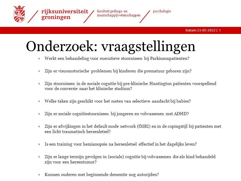 |Datum 21-05-2012 faculteit gedrags- en maatschappijwetenschappen psychologie Onderzoek: vraagstellingen › Werkt een behandeling voor executieve stoornissen bij Parkinsonpatienten.