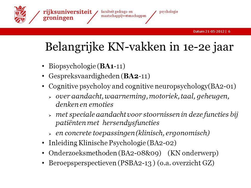 |Datum 21-05-2012 faculteit gedrags- en maatschappijwetenschappen psychologie Belangrijke KN-vakken in 1e-2e jaar Biopsychologie (BA1-11) Gespreksvaardigheden (BA2-11) Cognitive psycholoy and cognitive neuropsychology(BA2-01)  over aandacht, waarneming, motoriek, taal, geheugen, denken en emoties  met speciale aandacht voor stoornissen in deze functies bij patiënten met hersendysfuncties  en concrete toepassingen (klinisch, ergonomisch) Inleiding Klinische Psychologie (BA2-02) Onderzoeksmethoden (BA2-08&09) (KN onderwerp) Beroepsperspectieven (PSBA2-13 ) (o.a.