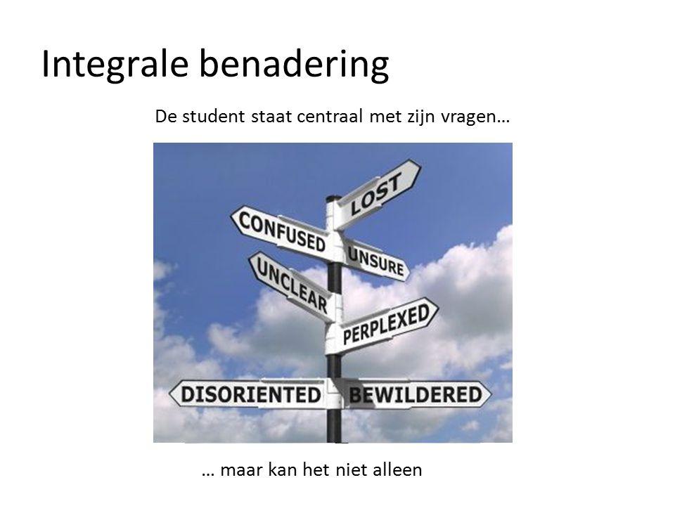 Integrale benadering De student staat centraal met zijn vragen… … maar kan het niet alleen