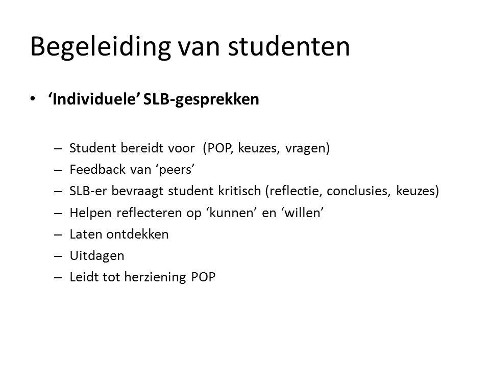 Begeleiding van studenten 'Individuele' SLB-gesprekken – Student bereidt voor (POP, keuzes, vragen) – Feedback van 'peers' – SLB-er bevraagt student k